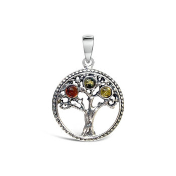 The Tree of Life commonly represents the interconnectedness of everything in the universe. It symbolises togetherness and serves as a reminder that you are never alone or isolated, but rather that you are connected to the world. 3 colours of Baltic Amber.