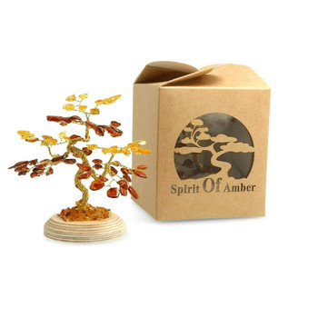 Individually Hand made Amber Tree Aged 30-40 Million Years Old From The Baltic. Very Original and One of a kind piece only sold by Spirit Of Amber. This specific piece has 135 Amber Gemstone on it, surrounded by high quality gold metal.  This Amber Tree will provide a Cosy Environment for you and your guests. Not only that, it is a beautiful tree to have decorated around your house that when exposed to sunlight it would give an amazing glare/shine to your home. You will guaranteed be asked questions on where your Amber Tree is from and how they can get their hands on it!  Height: 10cm  Amber: 81 Stones,Mix Colours..(bonsai tree shape)