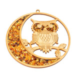 Owl on the MOON Amber Mandala and magnet decoration ornament 11cm