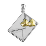 Sterling Silver Pendant  Two-tone double hearts on envelope love letter