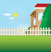 buy vector back yard picket fence and green lawn