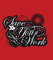 Vector save your work typesetting logo lockup full