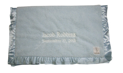 Little Giraffe blue chenille baby blanket