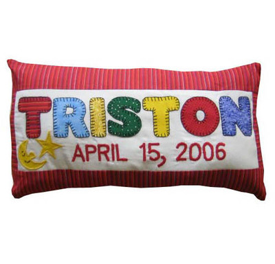 Custom appliqued birth announcement pillow