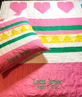 Handcrafted Custom Baby Quilt & Pillow - Heart Baby Quilt