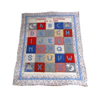Custom Personalized ABC Baby Quilt - Red & Blue