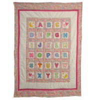 Custom Personalized ABC Baby Quilt - Pink