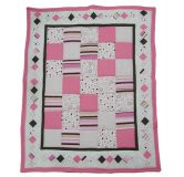 Custom Baby Quilt - Pink & Brown Patchwork