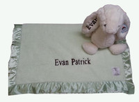 Personalized Baby Gift set  Jellycat Bunny and Blanket