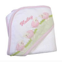 3 Marthas Personalized Hooded Towel - Pink Lamb