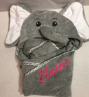 Lil Spout Hooded Towel  - Elephant Towel with Name