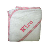 3 Marthas Personalized Hooded Baby Towel - Pink Gingham