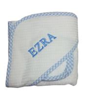 3 Marthas Baby Towel | Blue  Trimmed Pique Hooded Towel