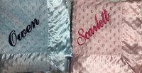 Personalized Twin Gifts - Two Minky Dottie Blankets