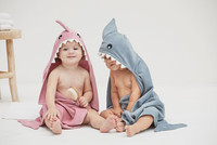 Personalized Elegant Baby  Hooded towels | Shark Towels for twins