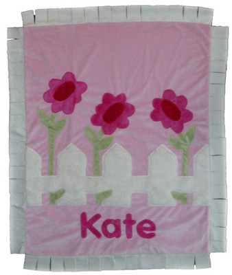 Custom Fringed Baby Blanket - Picket Fence with Flowers