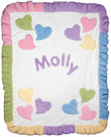Custom Ruffled Blanket - Funky Hearts