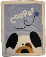 Custom Fringed Blanket - Boogie Baby Peekaboo Puppy Crib