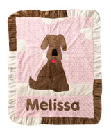 Custom Boogie Baby Ruffled Blanket - Good Dog Pink