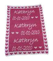 Custom Knit Personalized Baby Blanket - Heart