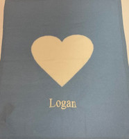 Personalized Cashmere Baby Blanket - Blue with Cream Heart