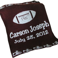 Custom Knit Personalized Baby Blankets | Football