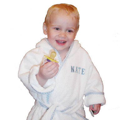 Personalized Kids  Gifts -  Bathrobe Gingham Trim