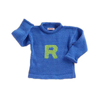Custom Hand Knitted Cotton Sweater - Monogram Pullover