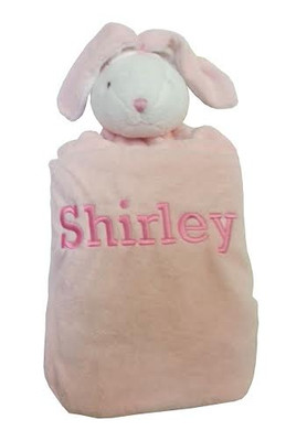 Angel Dear personalized napping bunny blanket in pink