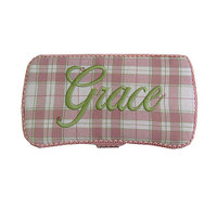 Personalized Travel Baby Wipe Case - Pink Plaid