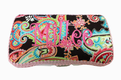 Personalized Travel Baby Wipe Case - Paisley on Brown