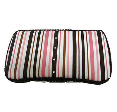 Personalized Travel Baby Wipe Case - Cocoa/Pink  Stripe