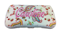 Personalized Travel Baby Wipe Case - Multi Paisley on White
