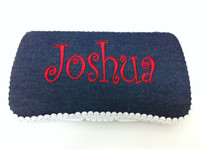 Personalized Baby Travel Wipe Case | Blue Denim