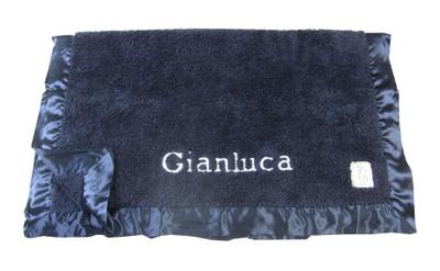 Little Giraffe Personalized Chenille Blanket - Blue Denim
