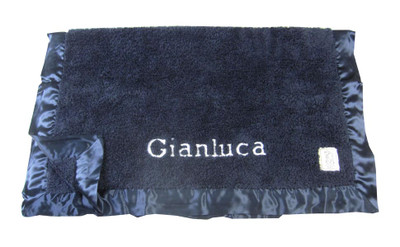 Little Giraffe Personalized Chenille Blanket - Blue Denim