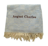 Handwoven Blue Baby Blanket - Eco - Friendly