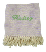 Handwoven Baby blanket | Lavender Monogrammed