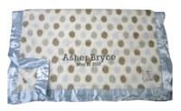 Little Giraffe Baby Blanket | Luxe Blue Dot Blanket