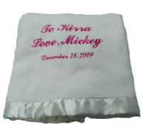 Personalized White Chenille Blanket - Elegant Baby
