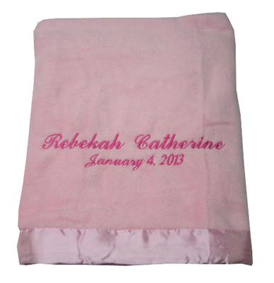 Elegant Baby Blanket   Pink Personalized Blanket