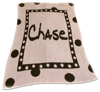 Butterscotch Blankee Crib - Large Polka Dots Name or Initial