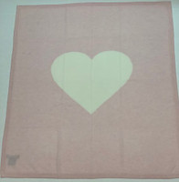 Personalized Cashmere Baby Blanket | Pink with Cream  Heart