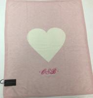 monogrammed heart blanket