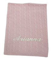 Cashmere Baby Blanket   Pink Cable Stitch