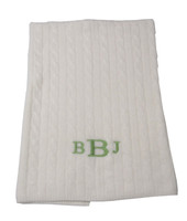 Monogrammed Cashmere Baby Blanket - Cream Cable Stitch