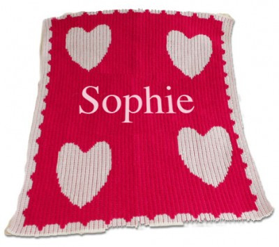 Cashmere Stroller Blanket  | Hearts and Name