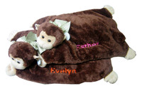 Gifts for twins can be identical monkey belly blankets but you can make them different for each twin by changing the color of the embroidered name. Belly blankets are wonderful  personalized baby gifts which can be used for tummy time or simply to cuddle in the crib or stroller. Made of soft baby safe material and measuring 24 inches; each twin will easily recognize his monkey plush toy by the color of his personalized name. Delivery 5-7 days plus ship time.