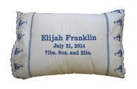 Personalized Baby Pillow - Blue Sailboats