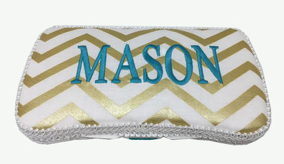 Personalized gold chevron baby wipe case